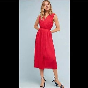 Tracy Reese Red Pleated Midi Dress